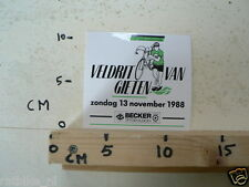 STICKER,DECAL 13 E VELDRIT VAN GIETEN 13-11-1988 BECKER