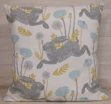 Lovely Handmade Cushion Cover - March Hare Mineral / Ochre - Same Both Sides
