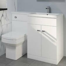 1100mm Bathroom Vanity Unit Basin Square Toilet Combined Furniture R/hand White