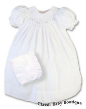 NWT Petit Ami White Smocked Daygown 2PC Newborn Baby Girls Bishop Dress Bonnet