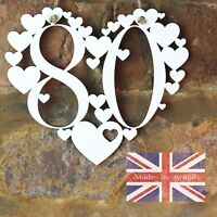 80th Birthday Gift White Love wall hanging heart decoration 80 Eighty sign