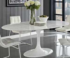 "HIGH-END Tulip Shaped Oval Dining Table 78"" Faux Marble or Fiberglass, Saarinen"