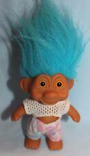 Troll  summer fun shorts and top yellow eyes 1991 China TNT blue hair