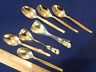 5 Teaspoons Remalux 18/8 and 2 Sugar Spoons Roses Germany Gold Electroplated