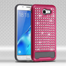 For Samsung Galaxy Halo/J7 Hot Pink/Iron Gray Diamante FullStar Protector Cover