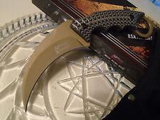Mtech Xtreme Tan Titanium Military Karambit Dagger Claw Knife G10 5mm Full Tang