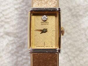 Vintage Seiko Tank Watch Gold Swarovski Crystal Silver Dial Two Jewels Women's