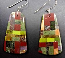 Kewa Artisan CONNIE CORIZ Multi Stone Inlay EARRINGS Pipestone Gaspeite Shell
