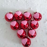 10  Shabby Chic RED Pink Glitter HEART ORNAMENTS VALENTINE Decor Feather Tree