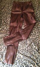 vintage HUGO BUSCATI shiny copper STRETCH skinny disco cigarette PANTS - size 6