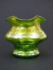 KRALIK iridescente verde Crackle Glass VASO ART NOUVEAU Bohemian