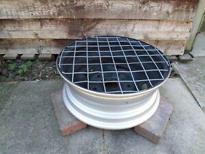 "Upcycled Silver 17"" Steel Wheel Redneck BBQ/Firepit/Chimenea/Patio Heater"