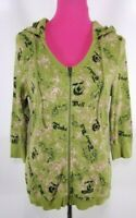 Disneyland Resort Women Hoodie Jacket size L Green Pink Disney Tinkerbell Zip Up