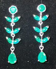 NATURAL GREEN AVENTURINE MARQUISE CAB 925 SILVER, 14K GOLD PLATED EARRINGS  #257