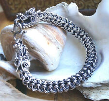 Silberarmband 23 cm Handarbeit Silber Drachen Armband Ø 9,5 mm Glieder Kordel