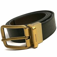 8015 Coach New York Mens Brown Black Pebble Leather Reversible Belt F64840 $175