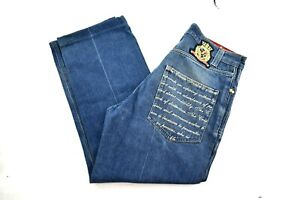 Authentic Crown Holder Mens Light Washed Embroidered Denim Jeans Size 34x28