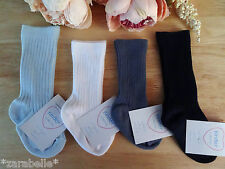Knee High Baby Boy Ribbed White Blue Navy Socks Occasion 0-2/3-5.5/6-8.5 UK Made