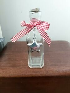 Decorative Clear square based Glass Bottle /Vase with Star & Ribbon Detail