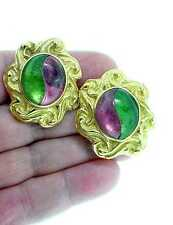 ELIZABETH  GAGE  18K   PINK   &   GREEN  TOURMALINE    EARRINGS
