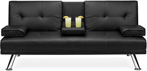 Best Choice Products Faux Leather Upholstered Modern Convertible Folding Futon S