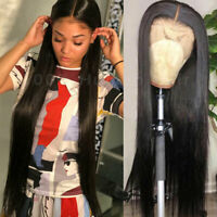 Real Long Straight Black Wig Women Remy Peruvian Human Hair Full Lace Front Wigs