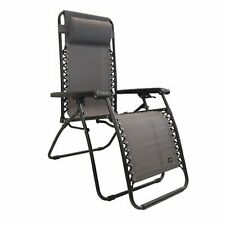Bliss Hammocks GFC-430P-C 26 Inch Zero Gravity Lounger Chair with Pillow, Gray