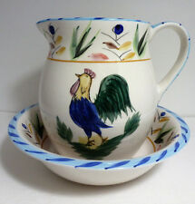 VINTAGE DECORATIVE CERAMIC COLORFUL HAND PAINTED ROOSTER PITCHER & BOWL SET