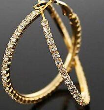 18K YELLOW GOLD PLATED RHINESTONE CRYSTAL LARGE HOOP EARRINGS 40MM
