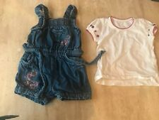Matalan Baby Girl Denim Jumpsuit Playsuit And T-shirt 2pc Set Age 3-6 Months