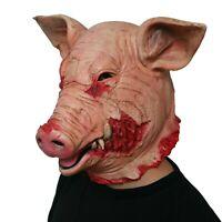 Bloody Creepy Pig Hog Swine Head Latex Mask Scary Halloween Costume Party Props