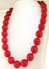 """RARE 14MM NATURAL RED JADE ROUND BEADS GEMSTONE NECKLACE 18"""" AAA+"""