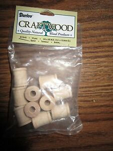 Unfinished Mini Wood Spools  10 Pieces Darice Craftwood 9110-61  Craft