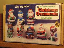 "Vintage Wee Crafts 3"" Christmas Ornaments Santas & Bears 3D (13 Gypsum figures)"