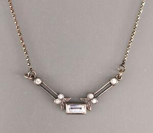 9901771 925er Silber Art-deco-Collier geometrisch Swarovskisteine