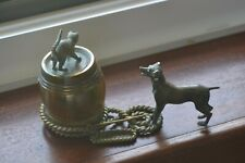 Vintage and Rare Brass/Bronze Cat and Dog with Barrel Desk Inkwell