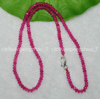 Faceted 2x4mm Rose Red Ruby Rondelle Gems Beads Necklace Silver Clasp 18''