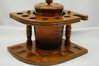 Tobacco Stand and Vintage Tobacco Glass Jar with Lid Holds 7 pipes Free Shipping