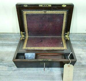 WRITING SLOPE DEED BOX STATIONARY BOX VICTORIAN MAHOGANY BRASS BOUND FREE P&P