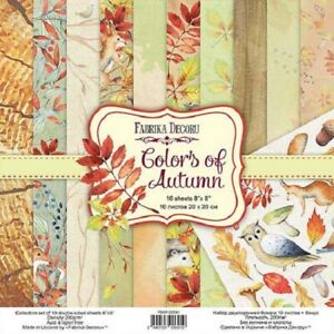 """8"""" x 8"""" scrapbooking paperpad cardstock Colors of Autumn 10 designs x 2 sheets"""