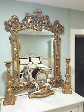 Gold French Shabby Chic Antique Style Rococo OrnateWall Mirror Rectangular Large