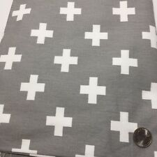 """1 Yards Grey with White Crosses Twill Fabric 56"""" Cotton"""