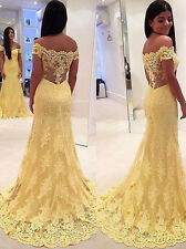 Mermaid Yellow Lace Long Prom Dresses Formal Evening Cocktail Wedding Ball Gown