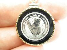 1991 1/10 OZ Australian Koala Solid Platinum Coin Black Onyx & 14kt Gold Frame