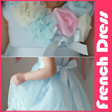 Boutique Custom Made Pettiskirt French Blue Dress 2-4T