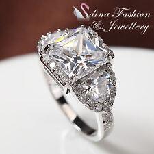 18K White Gold GP Three Diamonds Princess Cut Fancy Heart Shape Side Stones Ring