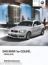 BMW 1er Coupé Preisliste 9/11 2011 price list Autopreisliste prijslijst Preise