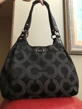 Coach Madison Maggie Op Art Black Signature Logo Hobo Shoulder Bag Handbag 15573