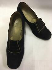 "Vintage 1940s Black Suede Shoes size 3 WWII WW2 utility footwear ""stylo"""