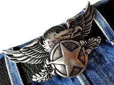 Gürtelschnalle Wechselschnalle Buckle Eagle Adler Biker Star Stern Silber  4cm